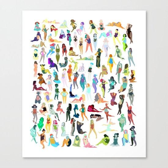 100 tiny ladies Canvas Print