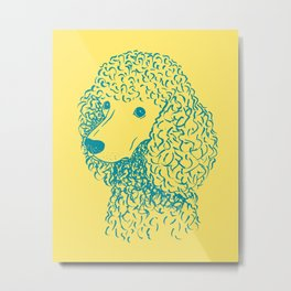 Poodle (Yellow and Teal) Metal Print