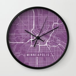 Minneapolis Map, USA - Purple Wall Clock