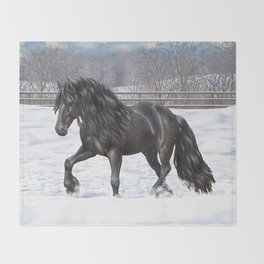 Friesian Horse Trotting In Snow Throw Blanket