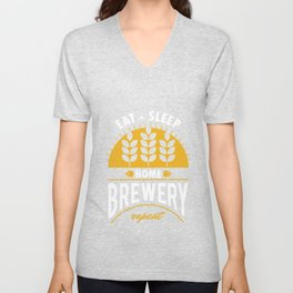 Eat Sleep Home Brewery Repeat Beer Brewing Ciders Fermentation Gift Unisex V-Neck