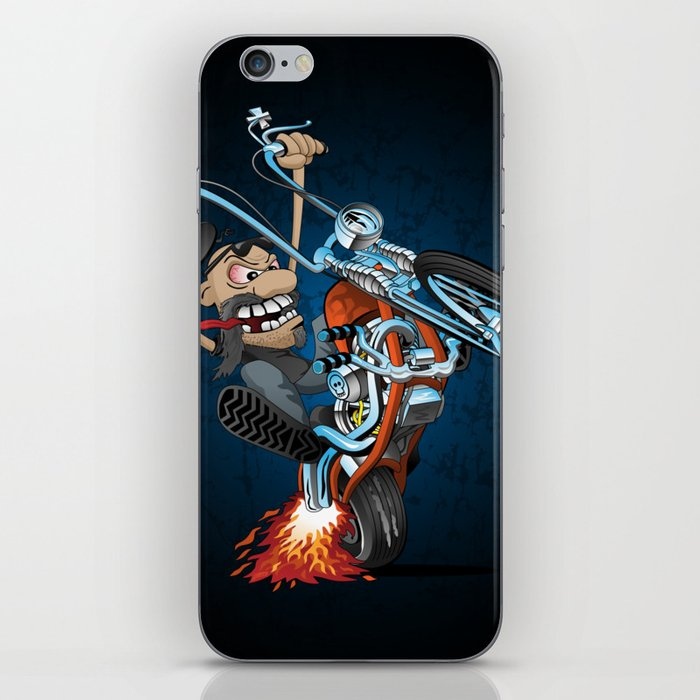 Biker popping a wheelie on a chopper motorcycle cartoon iPhone Skin by  hobrath