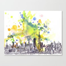 New York City Manhattan Cityscape Painting Canvas Print