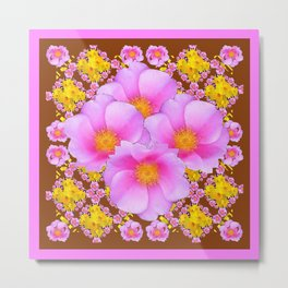 Chocolate Brown Pink Wild Roses Pattern Art Metal Print