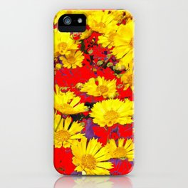 RED  & YELLOW COREOPSIS  FLORAL  ART DESIGN iPhone Case
