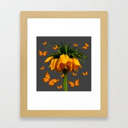 GREY ART  YELLOW MONARCH BUTTERFLIES YELLOW CROWN IMPE Framed Art Print