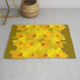 Olive Colored Golden Daffodile Floral Abundance Rug