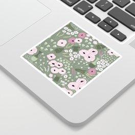 Pink Poppies - kaki floral pattern Sticker