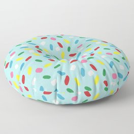 Sweet glazed, with colorful sprinkles on blue melting icing Floor Pillow
