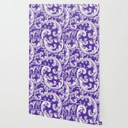 Purple Retro Chic Swirl Wallpaper