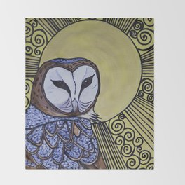 Barn Owl Art Nouveau Panel in yellow Throw Blanket