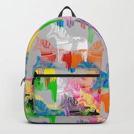 POP ART Dala horses - colorful Scandinavian Christmas pattern Backpack