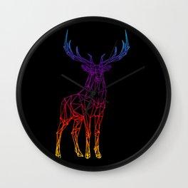 Rainbow Geometric Deer Wall Clock