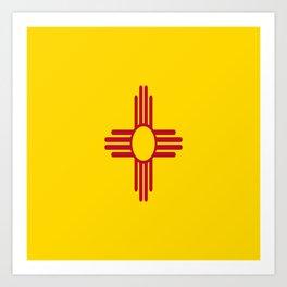 flag new mexico-usa,america,sun,Zia Sun symbol,New Mexican,Albuquerque,Las Cruces,santa fe,roswell Art Print