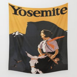 Retro Yosemite Travel Poster Wall Tapestry