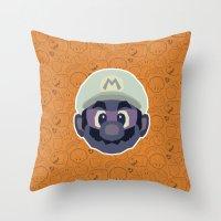 mario Throw Pillows featuring Mario by Kuki