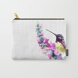 Hummingbird and Pink Flower Carry-All Pouch