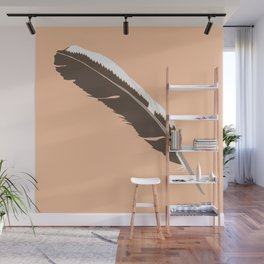 Rooster Feather Illustrated Print Wall Mural