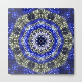 Happy Blues - blue and white kaleidoscope from lighted trees 1430 Metal Print