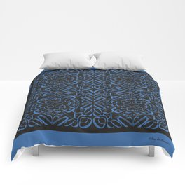 Courage of her Conviction Tiled - Blue Black Comforters