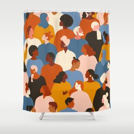Diverse group of stylish people standing together. Shower Curtain
