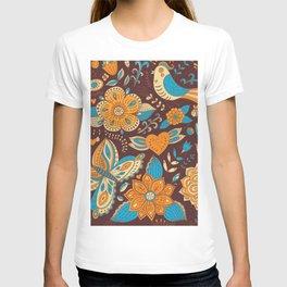 Floral Khokhloma pattern T-shirt