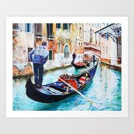 Gondolas on the Canals of Venice, Italy Art Print