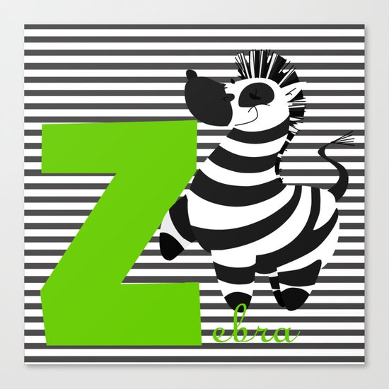 z for zebra Canvas Print