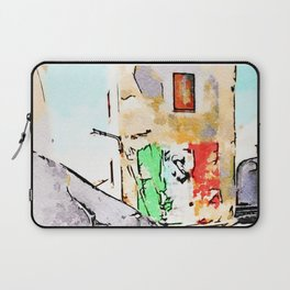 Tortora glimpse with chair and Italian flag painted on the wall of building Laptop Sleeve