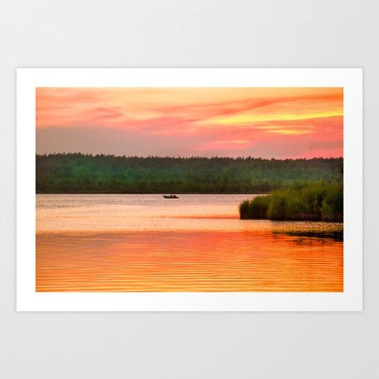 Summer sunset on Wild lake Art Print