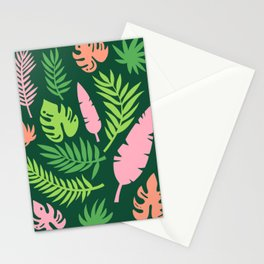 Green and Pink Tropical Leaves Stationery Cards
