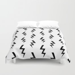 Bolts lightning bolt pattern black and white minimal cute patterned gifts Duvet Cover