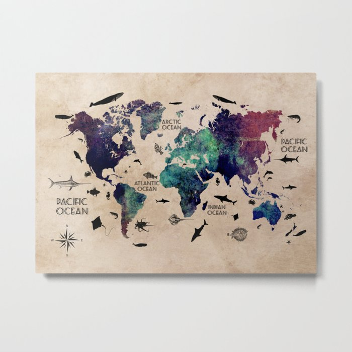Oceans Life World Map #map #worldmap Metal Print