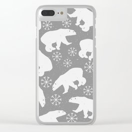 Polar bears and Snowflakes - gray Clear iPhone Case