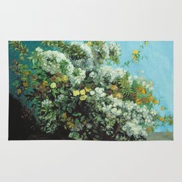 Gustave Courbet - Flowering Branches And Flowers Rug
