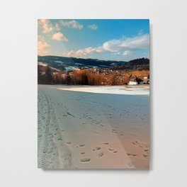 Winter wonderland and village skyline | landscape photography Metal Print