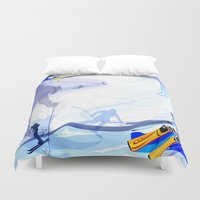 skiing Duvet Covers featuring Downhill Skiing by Robin Curtiss