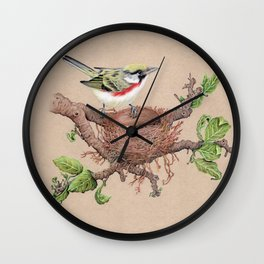 Chestnut Sided Warbler in Nest Wall Clock