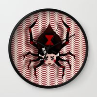 black widow Wall Clocks featuring Widow by willjames