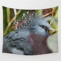 pigeon Wall Tapestries featuring Victoria Crowned Pigeon by IowaShots