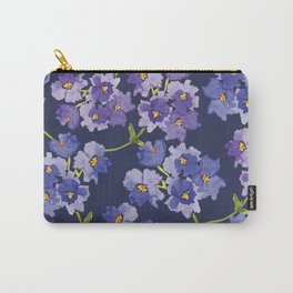 Purple Watercolour Blossom All Over Pattern Carry-All Pouch