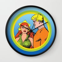 aquaman Wall Clocks featuring Aquaman and Mera Get Married Underwater by Hoboxia