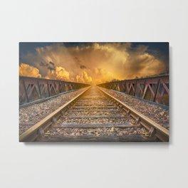 Journey along Railway Track Metal Print