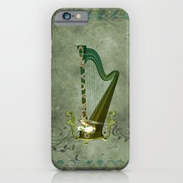 Celtic harp with celtic knot and flowers with bird iPhone Case