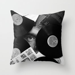 Long-playing Records and Covers in Black and White - Good Memories #decor #society6 #buyart Throw Pillow