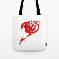 fairy tail Tote Bags featuring Fairy Tail Segmented Logo by JoshBeck