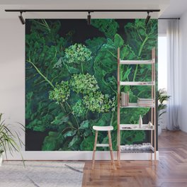 Hydrangea and Horseradish, black and green Wall Mural