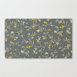 vintage floral vines - greys & mustard Canvas Print