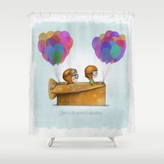 UP Pixar— Love is the greatest adventure  Shower Curtain
