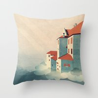 castle in the sky Throw Pillows featuring Castle in the Sky by Schwebewesen • Romina Lutz